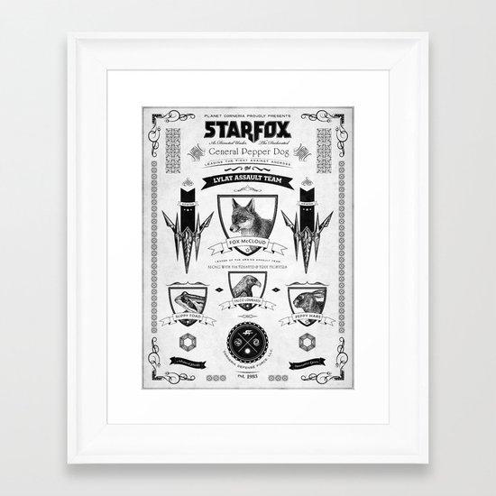 Star Fox Vintage Poster Geek Line Artly Framed Art Print