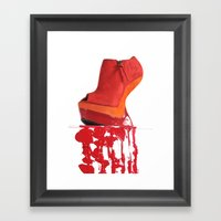 Dripping Red Shoe Framed Art Print