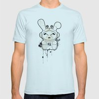 Space Bunny Mens Fitted Tee Light Blue SMALL