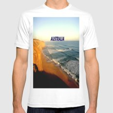 Sunset glowing on the limestone Cliffs Mens Fitted Tee SMALL White