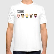 The Big Bang Theory Pixel Characters Mens Fitted Tee White SMALL