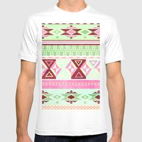 Neon Aztec Mens Fitted Tee White SMALL