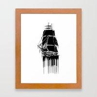 Inked Ship Framed Art Print