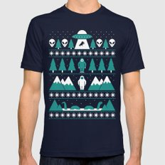 Paranormal Xmas Mens Fitted Tee Navy SMALL