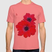 Velvet Red Poppy Anemone… Mens Fitted Tee Pomegranate SMALL