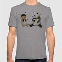 Tea Time with Panda  Mens Fitted Tee Athletic Grey SMALL