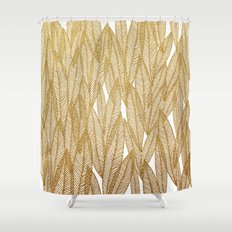 Gold & White Leaves Shower Curtain