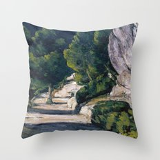 1870 - Paul Cezanne - Landscape. Road with Trees in Rocky Mountains Throw Pillow
