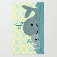 Rug featuring Whale Mom And Baby by Elephant Trunk Studi…