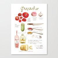 Illustrated Recipes: Gaz… Canvas Print