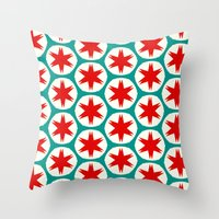 Retro Red Stars II Throw Pillow