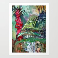 Tropical Waterfall Art Print