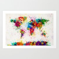 Map of the World Map Paint Splashes Art Print