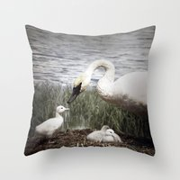 Tom Feiler Swan and her Cygnets Throw Pillow