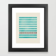 Framed Art Print featuring TEAL STRIPES AND ARROWS by Allyson Johnson