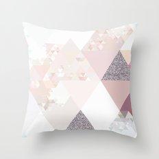 Triangles in glittering Rose quartz Throw Pillow