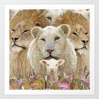 Lions led by a lamb Art Print