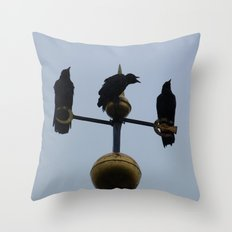Scottish storm crows Throw Pillow