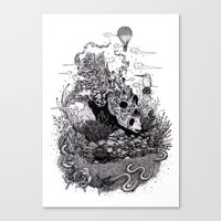 Land of the Sleeping Giant (ink drawing) Canvas Print