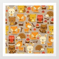 Super Cute Woodland Crea… Art Print