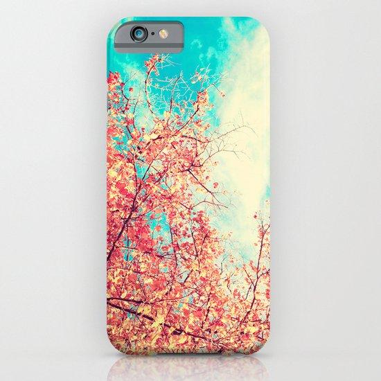 Deep Beauty (Fall pink tree leafs on retro blue sky) iPhone & iPod Case