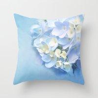 BLUE HYDRANGEA BALL Throw Pillow