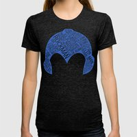 Mega Man Typography Womens Fitted Tee Tri-Black SMALL