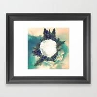 Tiny Snowy Forest Planet Framed Art Print