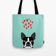 Boston Terrier - Hearts, Cute Funny Dog Cute Valentines Dog, Pet, Cute, Animal, Dog Love,  Tote Bag