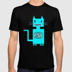 Robot Cat Mens Fitted Tee Black SMALL