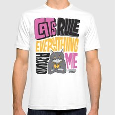 C.R.E.A.M. Cats Rule Everything Around Me SMALL Mens Fitted Tee White