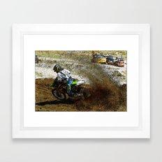 Round the Bend - Dirt Bike Racing Framed Art Print