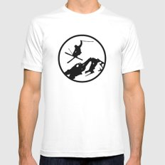 Skiing White SMALL Mens Fitted Tee