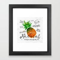 Watercolor pineapple Framed Art Print