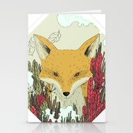 Stationery Cards featuring Fox by Dao Linh