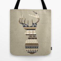 Dusty Stag Head Aztec Print Tote Bag