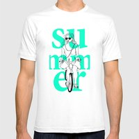 Summer Cycle Mens Fitted Tee White SMALL