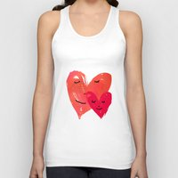 Watercolor couple of hearts Unisex Tank Top