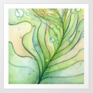 Green Watercolor Feather… Art Print
