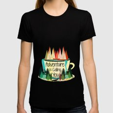 Adventure is Calling You Womens Fitted Tee Black SMALL