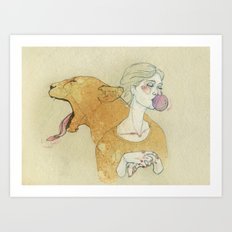 The lady and the lion. Art Print