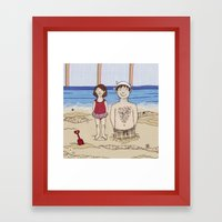 Embroidered Father and Daughter Beach Illustration Framed Art Print