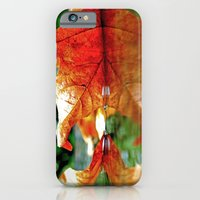iPhone & iPod Case featuring Autumn leaf reflected by Vorona Photography