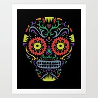 Sugar Skull SF multi -  black Art Print