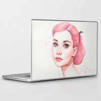 audrey hepburn Laptop & iPad Skins featuring Audrey Hepburn by Black Fury