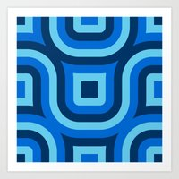 Blue Truchet Pattern Art Print