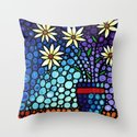You Cant Hide Beautiful - Lively floral by Labor of Love artist Sharon Cummings. Throw Pillow