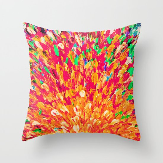NEON SPLASH - WOW Intense Dash of Cheerful Color, Bold Water Waves Nature Lovers Modern Abstract  Throw Pillow