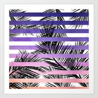 Watercolor summer sunset ombre stripes tropical palm tree Art Print