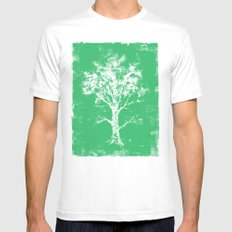 Green Tree Mens Fitted Tee SMALL White